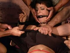 Bukkake Ending for Tied Up Hooker Barbie Pink in BDSM Gangbang