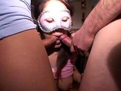 Masked girl in amateur hardcore threesome