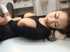 Busty Pantyhose-Clad Asian Riai Sakuragi Fucked for Creampie in Gangbang