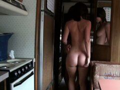 Young and slim teen girl Jada Stevens does a geezer in a trailer and sucks his dick hard