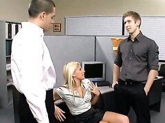 New young employee gets tested by two cocks