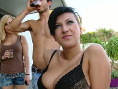 Backyard Double Penetration For A Short Haired Hottie