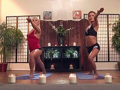 Hot Yoga Instructor Lesbian Blonde MILF and Redhead Sex