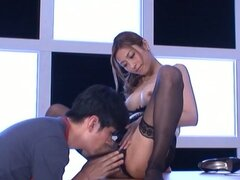 Adorable Japanese chick gets her pink slit fingered and drilled