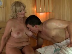 Sally G. gives a hot blowjob and gets her wet snatch drilled