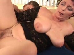 Mature wears black lace for her fuck video