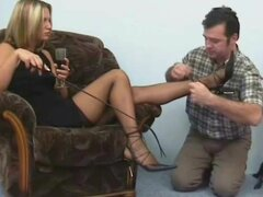Feet in stockings turn on the submissive
