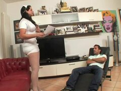 Fat tranny in nurse uniform fucks a guy in his ass