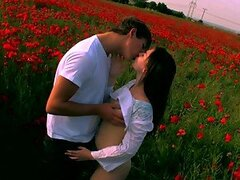 Hardcore With Teen Brunette Alka In A Poppy Field
