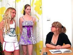 Horny Blonde Mature Tutor Having Sex with Two Hot Lesbian Teens