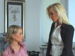 Boss Valerie licks her secretary's tight pussy