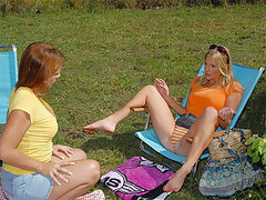 Bree and Olivia went to the park to have a picnic. Bree conveniently picked a secluded area to setup her basket full goodies. After some small talk, the girls started kissing and titty licking. They eventually fingered and tongue fucked each other until t