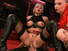 Leather Fetish Babes Natalli Di Angelo and Tarra White Anal Threesome