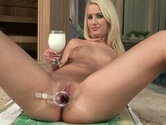 Blonde Pours Milk On Herself & Solo Fucks Her Cunt