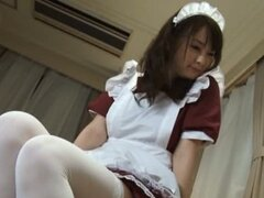 Cute Maid Outfit Wearing Asian Makes Him Cum With Ease