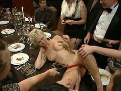 Sex Slave Forced To Eat Plenty Pussy and Suck Several Cocks