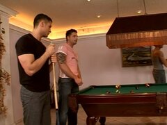 Three gays fuck each other's butts after playing pool