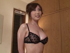 Oiled Up Yui Akane In Black Lingerie Gives A Great Handjob and Titjob