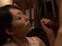 Japanese housewife Sorami Haga gives a perfect blowjob