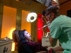 Nasty dentist uses his own huge tool to clean Kaylani Lei's teeth