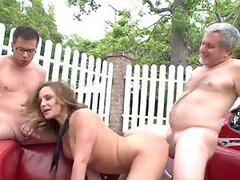 Father and son do everything together, even fuck babes