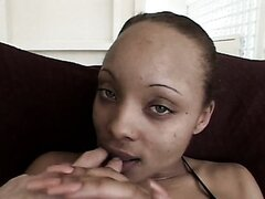Ugly ebony whore gets fingered intensively and then gives deepthroat blowjob